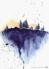"""Blauer Wald"", Aquarell, 24 cm x 17 cm -verkauft-"
