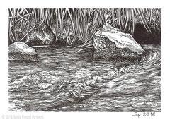 """Die Fulda in Fulda- Der gleichnamige Fluss entspringt in der Rhön bei der Wasserkuppe. Zeichnung zum Inktober-Stichwort """"flowing - fließen"""". 10,5 cm x 14,8 cm, Original erhältlich für 95,00 Euro."""