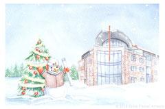 Design für die Weihnachtskarte 2018 der Alfred Doepker Projektgesellschaft mit Firmengebäude, Aquarell