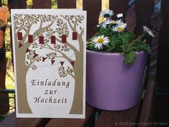 Hochzeitskarte, digitale Arbeit auf Naturpapier gedruckt.
