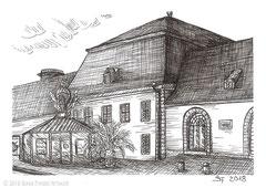 """Schlosstheater Fulda, wo u.a. das Musical """"Die Schatzinsel"""" aufgeführt wird. Zeichnung zum Inktober-Stichwort """"precious - kostbar, wertvoll"""". 10,5 cm x 14,8 cm, Original erhältlich für 65,00 Euro."""