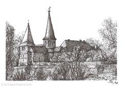 Die Michaelskirche in Fulda, erbaut im Jahr 820. 10,5 cm x 14,8 cm, Original erhältlich für 65,00 Euro.