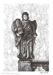 Engelsfigur mit Passionssäule, Kreuzigungsgruppe auf dem Kalvarienberg Fulda. 14,8 cm x 10,5 cm, Original erhältlich für 75,00 Euro.