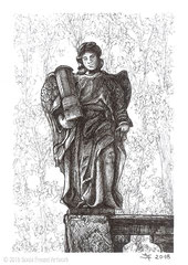 Engelsfigur mit Passionssäule, Kreuzigungsgruppe auf dem Kalvarienberg Fulda. 14,8 cm x 10,5 cm, Original erhältlich für 95,00 Euro.