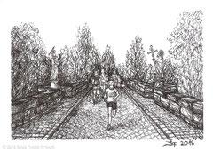 """Teilnehmer des Fuldaer Marathons laufen über die Hornungsbrücke in Fulda. Zeichnung zum Inktober-Stichwort """"exhausted - erschöpft"""". 10,5 cm x 14,8 cm, Original erhältlich für 45,00 Euro."""