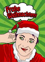 Weihnachtskarte im Pop-Art-Stil, Digitale Arbeit