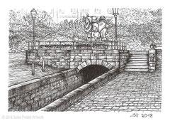 """Die Tränke in Fulda mit Fastnachtsbrunnen. Zeichnung zum Inktober-Stichwort """"drain - Rinne"""". 10,5 cm x 14,8 cm, Original erhältlich für 45,00 Euro."""
