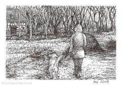 """Ein Spaziergang mit Hund durch den überfluteten Auepark mit der Wiesenmühle im Hintergrund. Zeichnung zum Inktober-Stichwort """"muddy - matschig"""". 10,5 cm x 14,8 cm, Original erhältlich für 65,00 Euro."""