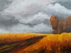 """""""Herbststimmung"""", Herbstfelder in Öl auf Malkarton, 30 cm x 40 cm; 180 Euro"""