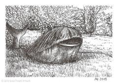 """Walskulptur in der Nähe vom Gesundheitsamt Fulda. Zeichnung zum Inktober-Stichwort """"whale - Wal"""". 10,5 cm x 14,8 cm, Original erhältlich für 95,00 Euro."""