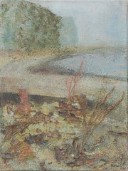 Bank of the Elbe 2, 2002 _____ 40x30 acrylic, sand, grass, bark on cotton