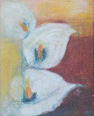 Calla, 2000 _____ 50x40 Acryl, Sand, Papier auf Leinwand