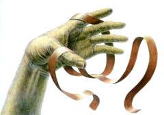 鉛筆淡彩(手とモチーフ)