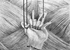 横浜美術大学美術・デザイン学科合格者作品(手とモチーフの構成デッサン)