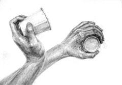 手とモチーフの構成デッサン
