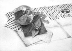 東京造形大学メディアデザイン専攻領域合格者作品(卓上構成デッサン)