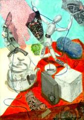 静物構成水彩、アクリル、コラージュ画