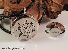 Bild 14:Edelstahlmedaillon mit Ornament und Filzplatte gefüllt, Grösse 30mm. Preis : 52 Euro Gravur nach Wunsch und Absprache.