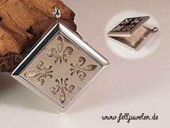 Bild 19: Edelstahlmedaillon mit Ornament und Filzplatte gefüllt, Grösse 30mm. Preis : 52 Euro