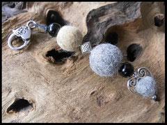 Bild 35: Fellperlen mit schwarzen Holzperlen und Silberelementen. Preis: 32 Euro.