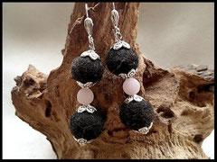 Bild 3: Ohrrige aus Tierhaaren mit silbernen Perlkappen und hochwertigen Rosenquarzperlen. Brissuren aus 925er Silber. Preis 28 Euro