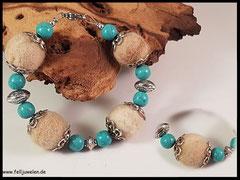 Bild 8: Fellperlen mit Türkisperlen und Silberelementen gefertigt. Preis 34 Euro