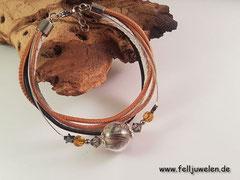 PH 3: Eine Glsperle 14mm mit Schweifhaar gefüllt, verschiedenen Lederbänder die mit den Perlen farblich abgestimmt sind.(56 €)