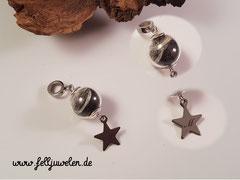 Bild 20 Glasperle mit Hundehaaren gefüllt, Öse aus Edelstahl ebenso der Stern, hier mit einer Buchstabengravur. Preis:31 Euro