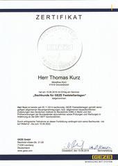 Zertifikat, Sachkunde für GEZE Feststellanlagen