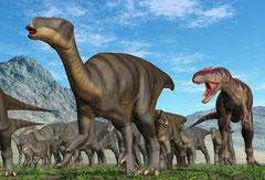 イグアノドンがアロサウルスに襲われています。