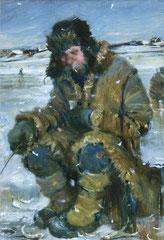 Der Fischer (Öl auf Leinwand 25x30 2004)
