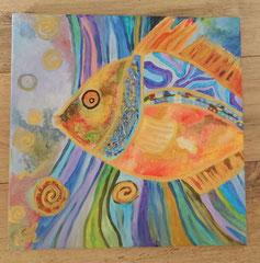 Acrylbild auf Leinwand / Keilrahmen - Fisch- Kunterbunt - 40 x 40 cm / August 2016- verkauft