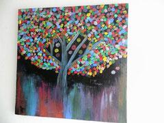 Acrylbild auf Leinwand/ Keilrahmen -40 x 40 cm / Glücksbaum - Juni 2017 - verkauft