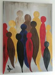 Acrylbild auf Leinwand/ Keilrahmen - Menschen - 70 x 50 cm/  September 2016