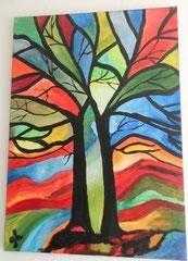 Acrylbild auf Leinwand/ Keilrahmen / Bäume- abstrakt / 70 x 50 cm / August 2016
