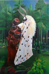 White tiger moth, oil on linen, 120 x 80 cm