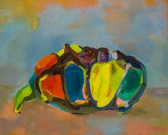 Träumende Larve, 2017, Öl auf Baumwolle, 60 x 75 cm