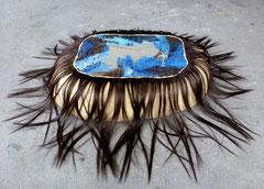 Memini 3, 2015,  oil on canvas, papier mache, plaster, artificial hair, acrylic