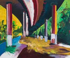 Meenz 3, 2014, Acryl auf Leinwand, Ziergarn, 100 x 120 cm