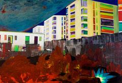 Gesicherte Heimat, 2015, Acryl auf Leinwand, 130 x 190 cm