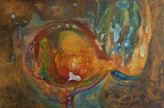 Cherokee soul wolf 150 cm x 100 cm Leinwand auf Keilrahmen, Mischtechnik, fixiert