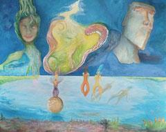 hope 130 cm x 106 cm Leinwand auf Keilrahmen, Öl auf Acryl, fixiert