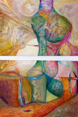 the next step 2 x 140 cm x 100 cm Leinwand auf Keilrahmen, Öl auf Acryl, fixiert