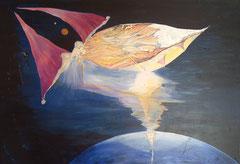 Anflug aufs Paradies 190 cm x 126 cm Leinwand auf Keilrahmen, Acryl, Öl, fixiert