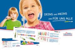 Gestaltung eines Flyers für Thiele Dental. Projekttittel: Thienelino in die Kindergärten