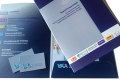 Visitenkarte und Präsentationsmappe für VAbA (Vorbereitung junger Asylsuchender auf eine berufliche Ausbildung)