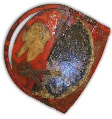 Génesis / 147 x 147 x 35 cms / Ensamble lumino-cinético técnica mixta: resina plástica, vidrio y metal