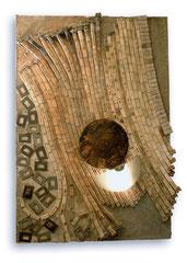 8-IV / 89 x 129 x 21 cms / Ensamble lumino-cinético técnica mixta: cerámica, madera, vidrio y metal