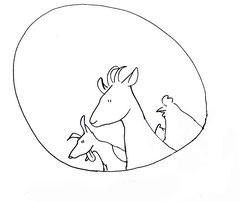 Illustrationen aus dem Printflyer für Bauernhoftiere für Stadtkinder e.V. (Entwurf)