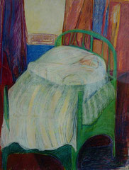 the bed  -  gouache and pastel on paper  -  70x90 cm  -  1992